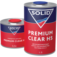 Solid PREMIUM CLEAR HS Двухкомпонентный прозрачный лак, 1л + 0,5л отвердитель